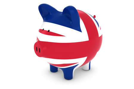 uk flag: British Currency Concept - UK Flag Piggy Bank 3D Illustration
