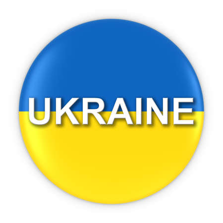 ukrainian flag: Ukrainian Flag Button with Ukraine Text 3D Illustration Stock Photo