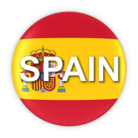 spanish flag: Spanish Flag Button with Spain Text 3D Illustration Stock Photo