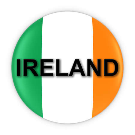 irish flag: Irish Flag Button with Ireland Text 3D Illustration Stock Photo