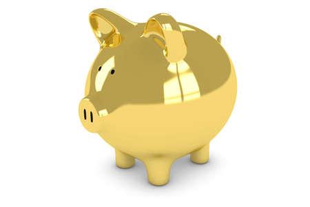 Golden Piggy Bank Isolated on White Background 3D Illustration