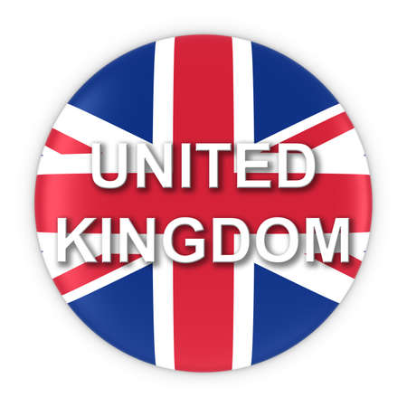 text 3d: British Flag Button with United Kingdom Text 3D Illustration