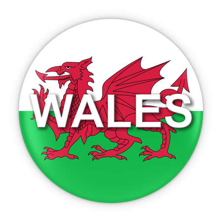 welsh flag: Pulsante bandiera gallese con il Galles l'illustrazione del testo 3D