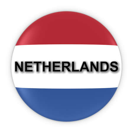 dutch flag: Dutch Flag Button with Netherlands Text 3D Illustration Stock Photo