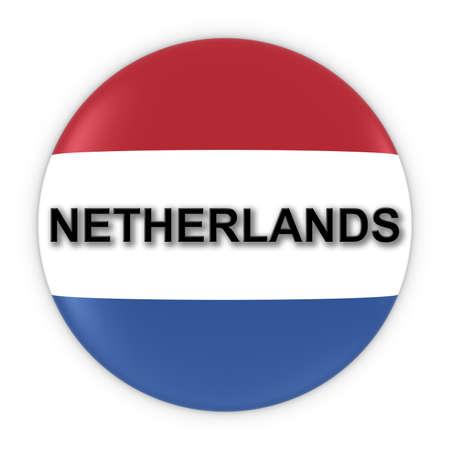dutch: Dutch Flag Button with Netherlands Text 3D Illustration Stock Photo