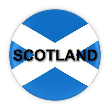 scottish flag: Pulsante bandiera scozzese con la Scozia l'illustrazione del testo 3D