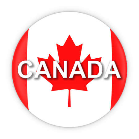 canadian flag: Canadian Flag Button with Canada Text 3D Illustration