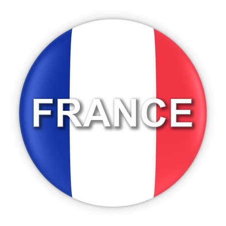 french flag: French Flag Button with France Text 3D Illustration