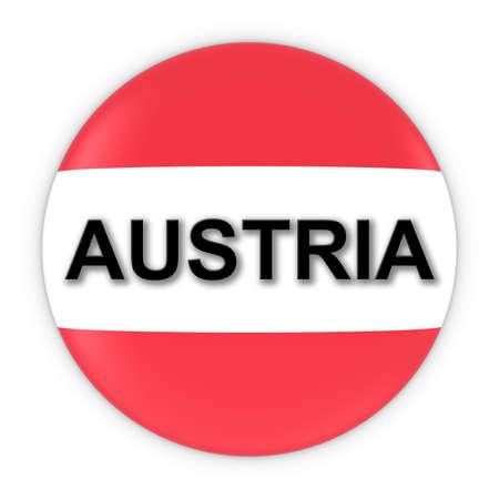 austrian flag: Austrian Flag Button with Austria Text 3D Illustration