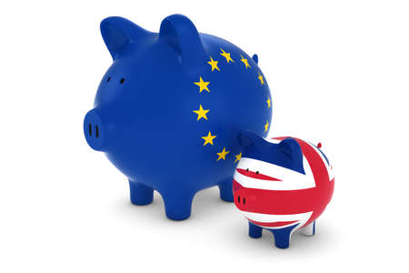 EU Flag and UK Flag Piggybanks Exchange Rate Concept 3D Illustration 版權商用圖片