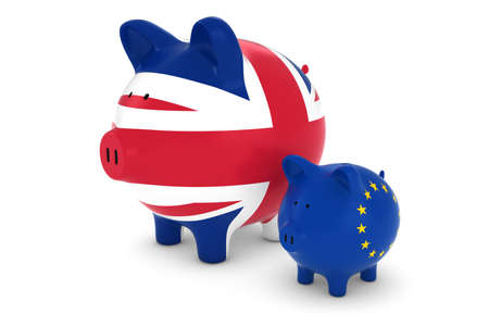 exchange rate: UK Flag and EU Flag Piggybanks Exchange Rate Concept 3D Illustration Stock Photo
