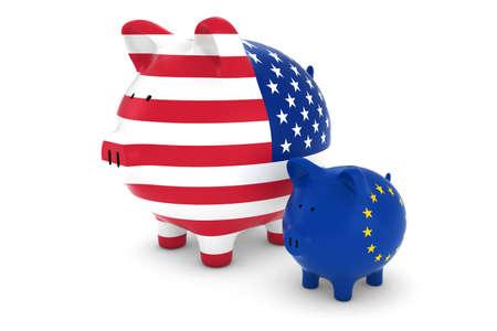 eu flag: US Flag and EU Flag Piggybanks Exchange Rate Concept 3D Illustration