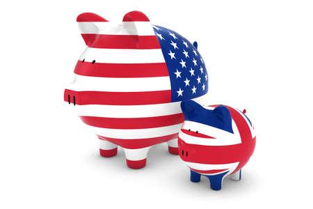 exchange rate: US Flag and UK Flag Piggybanks Exchange Rate Concept 3D Illustration