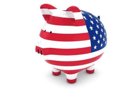 us coin: US Currency Concept - US Flag Piggy Bank 3D Illustration