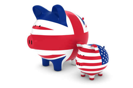 exchange rate: UK Flag and US Flag Piggybanks Exchange Rate Concept 3D Illustration