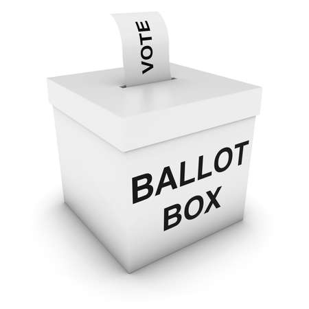 polling: Ballot Box with Vote Polling Card 3D Illustration