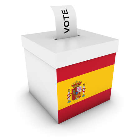 voters: Spanish Elections Ballot Box with Flag of Spain 3D Illustration Stock Photo