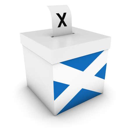 polls: Scottish Elections Ballot Box with Flag of Scotland 3D Illustration