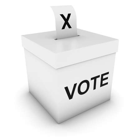 voters: Ballot Box with Vote text and Cross Slip 3D Illustration