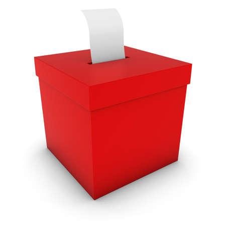 encuestando: Urna de color rojo con la tarjeta en blanco Ilustración 3D de sondeo