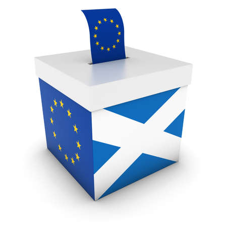 referendum: Vote for Europe - Scottish EU Referendum Ballot Box with Flags 3D Illustration