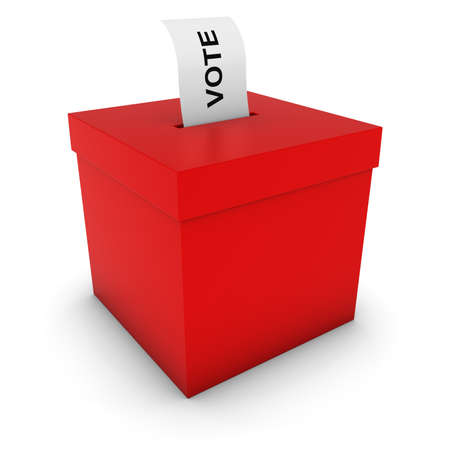 voting: Red Ballot Box with Voting Slip 3D Illustration