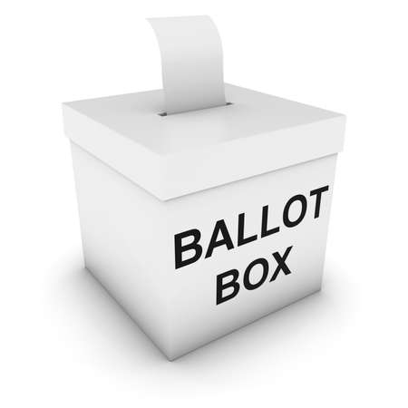 polling: Ballot Box with Blank Polling Card 3D Illustration