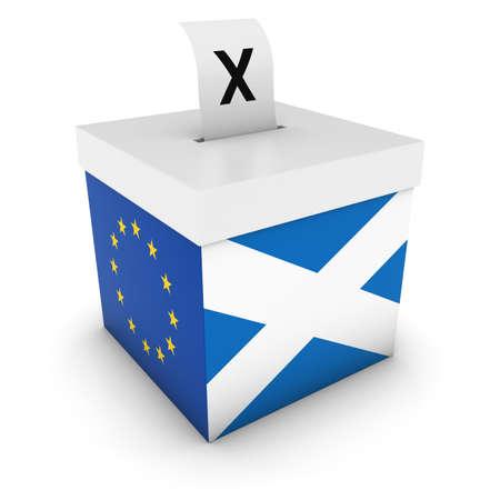 polling: Scottish EU Referendum Ballot Box with Flags 3D Illustration