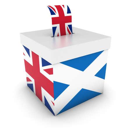 voters: Vote for UK - Scottish UK Referendum Ballot Box with Flags 3D Illustration Stock Photo