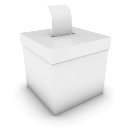 polling: Blank Ballot Box with Polling Card 3D Illustration Stock Photo