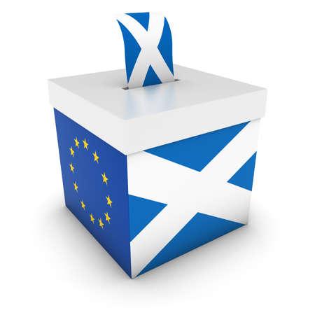 voters: Vote for Scotland - Scottish EU Referendum Ballot Box with Flags 3D Illustration