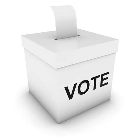 polling: Ballot Box with Vote text and Blank Polling Card 3D Illustration