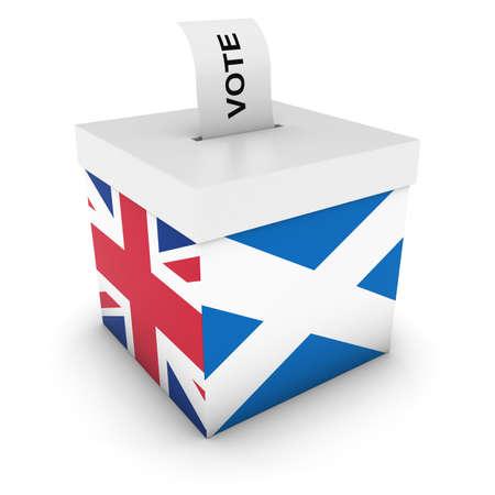 voters: Scottish UK Referendum Ballot Box with Flags 3D Illustration