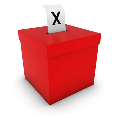 polling: Red Ballot Box with Cross Slip 3D Illustration Stock Photo