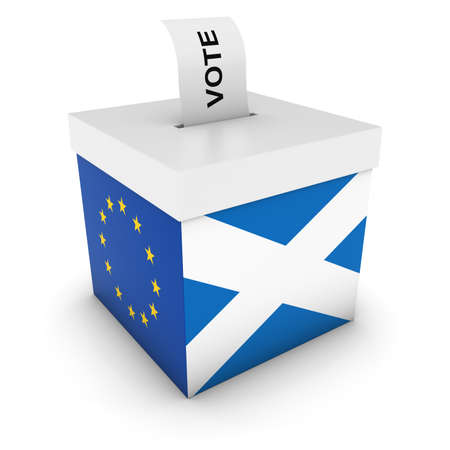 referendum: Scottish EU Referendum Ballot Box with Flags 3D Illustration