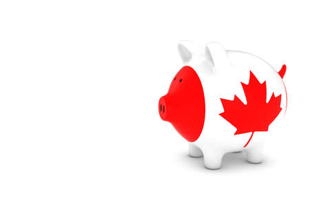 canadian cash: Canadian Flag Piggy Bank with White Copy Space 3D Illustration Stock Photo