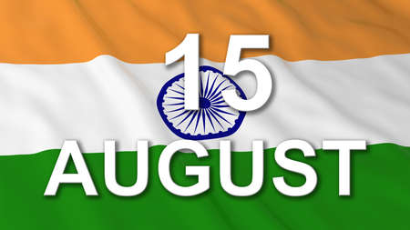 august: Indian Independence Day Flag 15 August Text 3D Illustration