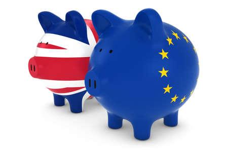 eu flag: UK and EU Flag Piggy Banks 3D Illustration Stock Photo