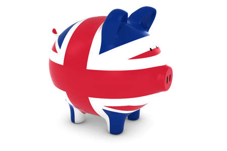 uk flag: British Financial Concept - UK Flag Piggy Bank 3D Illustration Foto de archivo