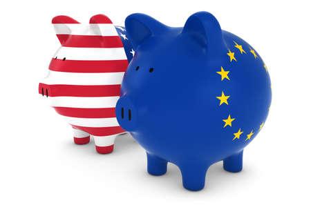 eu flag: US and EU Flag Piggy Banks 3D Illustration