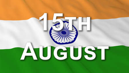 text 3d: Indian Independence Day Flag 15th August Text 3D Illustration