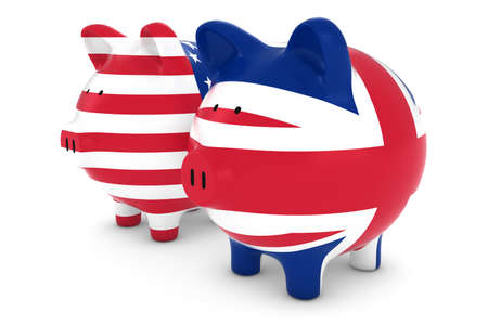 british currency: British and American Flag Piggy Banks 3D Illustration Stock Photo