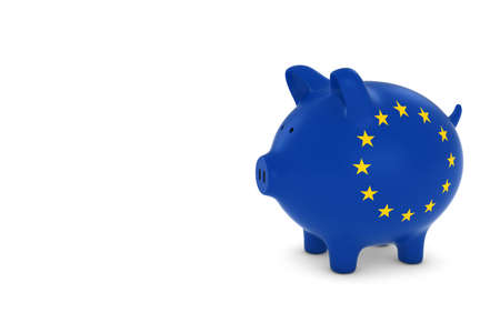 funding: EU Flag Piggy Bank with White Copy Space 3D Illustration Stock Photo