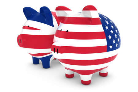 uk money: UK and US Flag Piggy Banks 3D Illustration Stock Photo