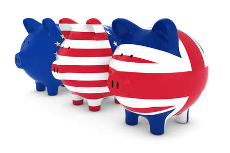 european union: European American and British Flag Piggy Banks 3D Illustration