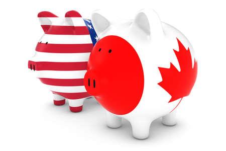 canadian flag: American and Canadian Flag Piggy Banks 3D Illustration