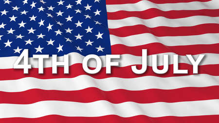 text 3d: American Independence Day Flag 4th of July Text 3D Illustration Stock Photo