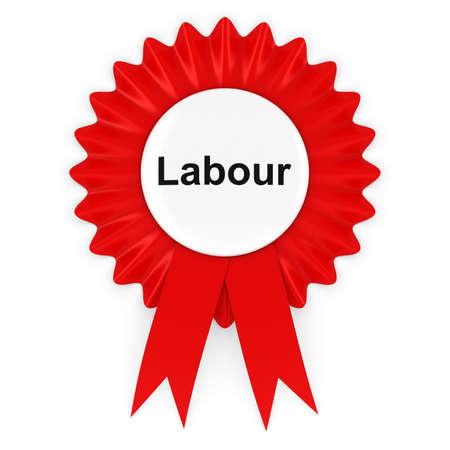 voters: Labour Party Rosette Badge 3D Illustration
