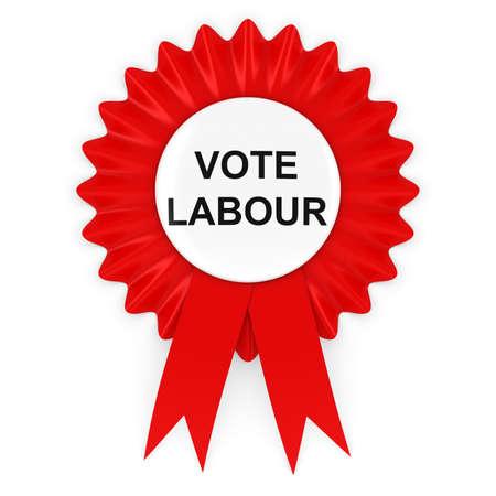 political party: Vote Labour Red Rosette 3D Illustration