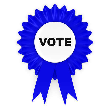 political party: Blue Vote Rosette Badge 3D Illustration